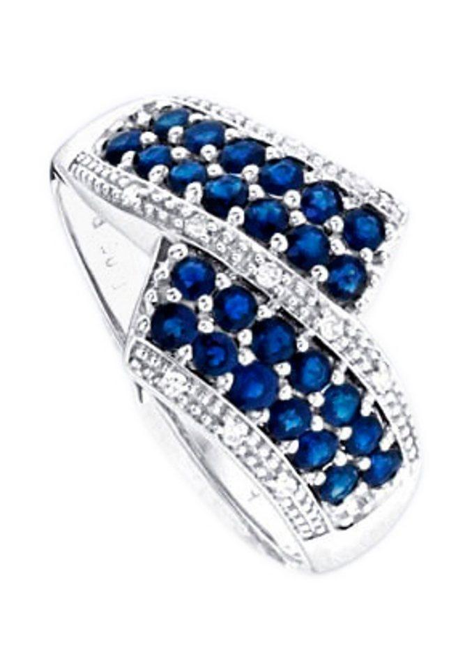 Vivance Jewels Ring im Verlauf mit Saphir und Diamant in silberfarben
