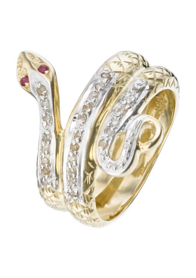 """firetti Ring """"Schlange"""" mit Rubinen und Diamanten in goldfarben"""