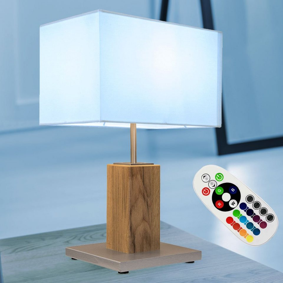 etc shop Tischleuchte, Holz Tisch Leuchte eiche FERNBEDIENUNG Wohn Zimmer  Textil Lese Lampe DIMMBAR im Set inkl. RGB LED Leuchtmittel online kaufen    ...