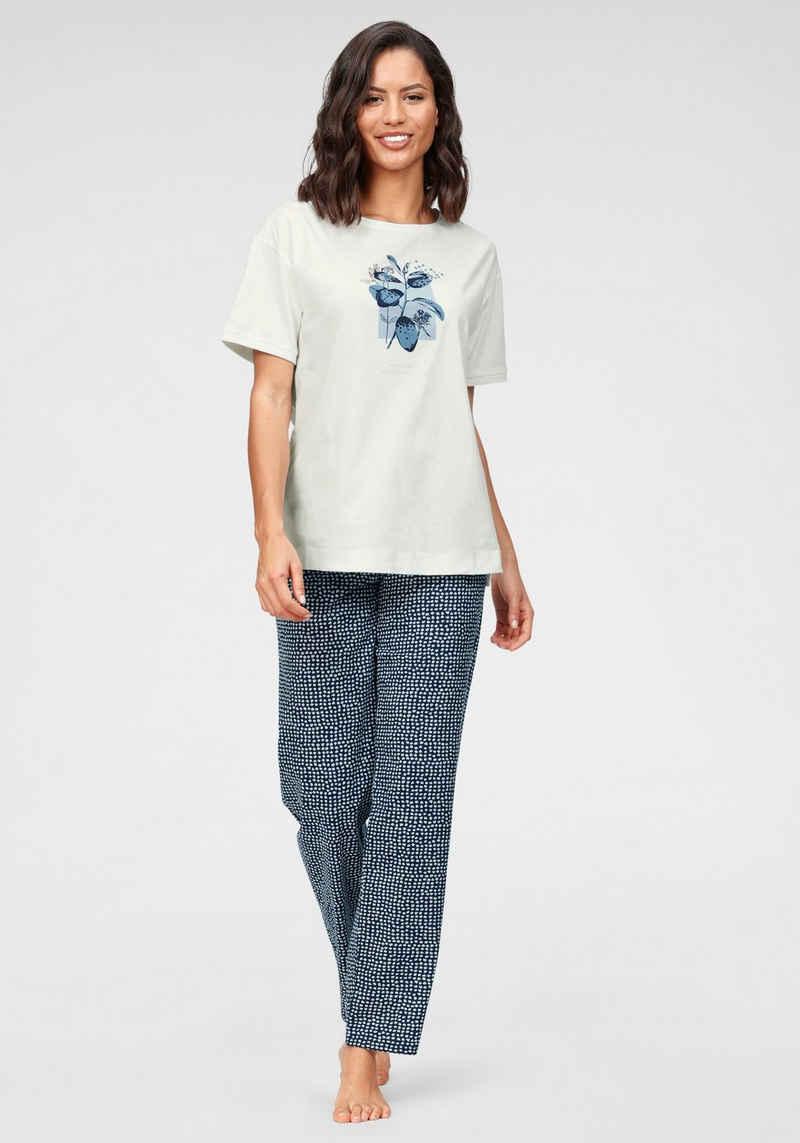 Triumph Pyjama mit Blätterdruck und gepunkteter Hose