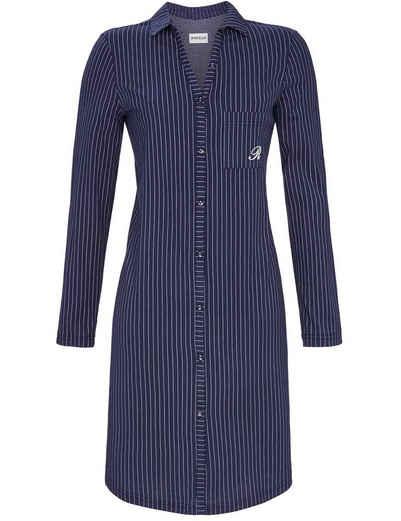 Ringella Nachthemd »Damen Langarm Nachtkleid im Hemdstyle, 1511016 - Marineblau, Sportliche Nachtwäsche Knöpfe Kragen Streifen«