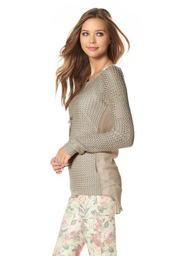 Ajc Crew-neck Sweater, With Chiffon Back Part