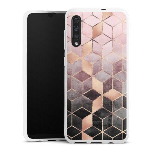 DeinDesign Handyhülle »Pink Grey Gradient Cubes Glitter Look« Samsung Galaxy A30s, Hülle Würfel Elisabeth Fredriksson Gold & Kupfer