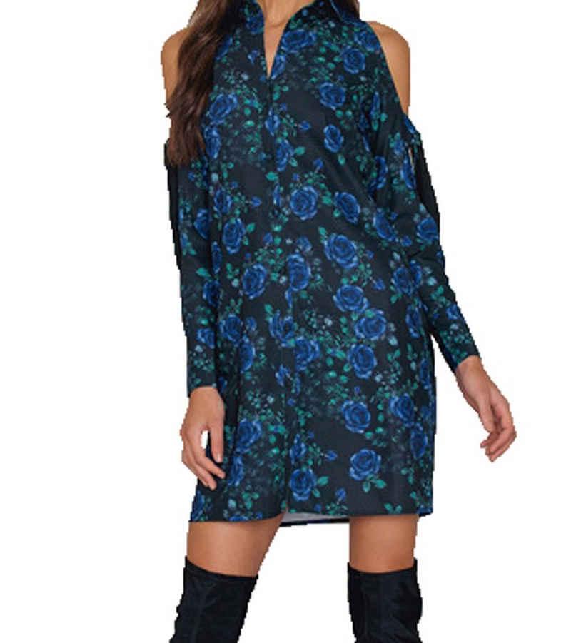 NA-KD Sommerkleid »NA-KD x THERESE LINDGREN Shirt-Kleid blumiges Damen Midi-Kleid Freizeit-Kleid Blau«