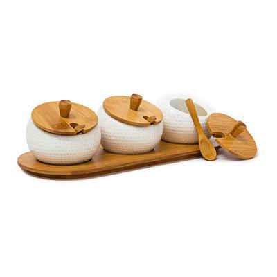 relaxdays Gewürzbehälter »Gewürzhalter JIAO«, Bambus