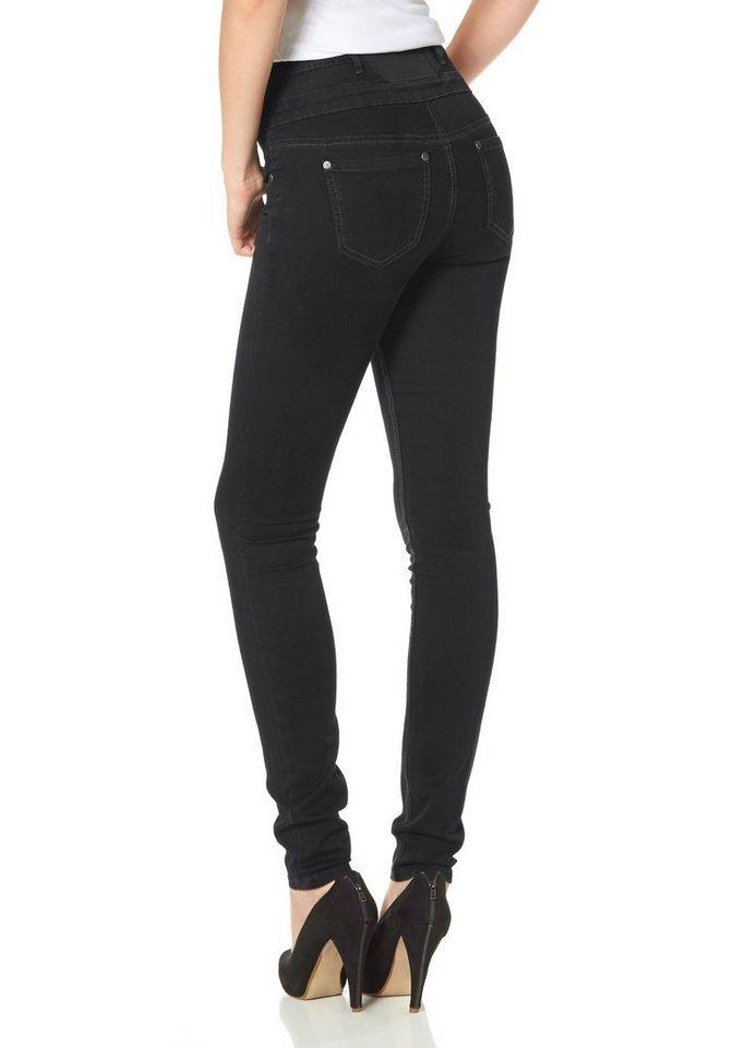 Arizona High-waist-Jeans mit Gummizug-Einsatz in black