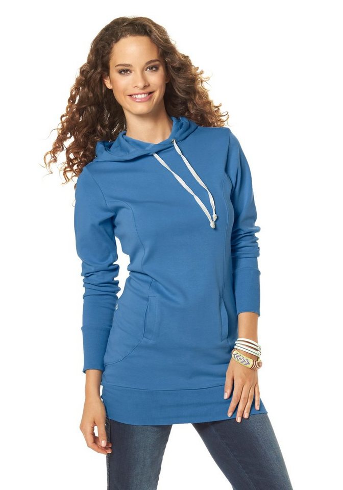 Flashlights Kapuzensweatshirt in Longform in blau