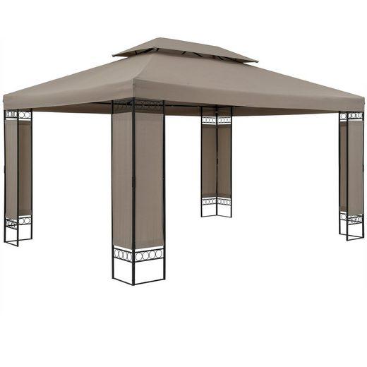 Casaria Pavillon »Elda«, Pavillon Elda 3x4m Taupe Seitenwände Stabil Wasserabweisend Robust Metall Gartenpavillon Festzelt Partyzelt Gartenzelt