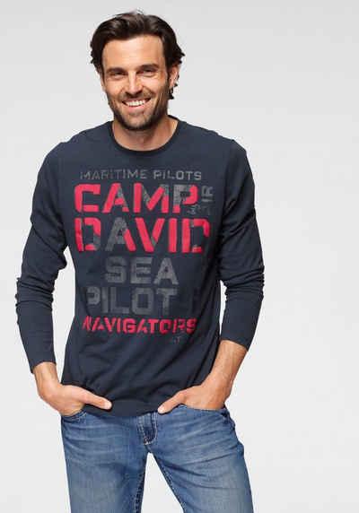 CAMP DAVID Langarmshirt mit Logofrontprint