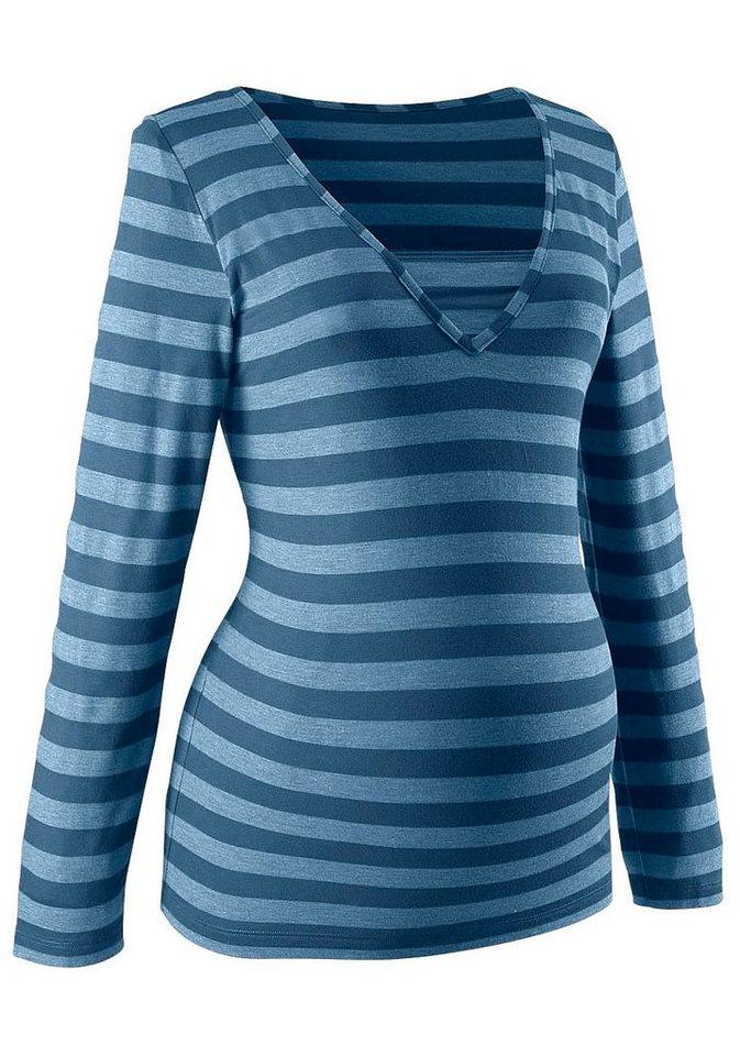 Neun Monate Umstandsshirt mit Stillfunktion in blau
