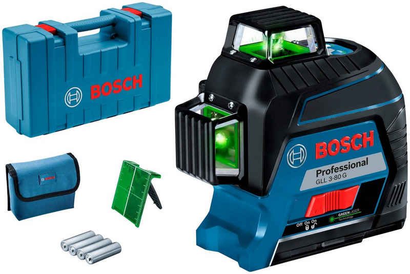 Bosch Professional Powertools Linienlaser »GLL 3-80 G Professional«, (Packung), Messbereich: 30m