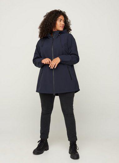 Zizzi Outdoorjacke Damen Große Größen Kurze Softshell Jacke mit Kapuze und Reißverschluss