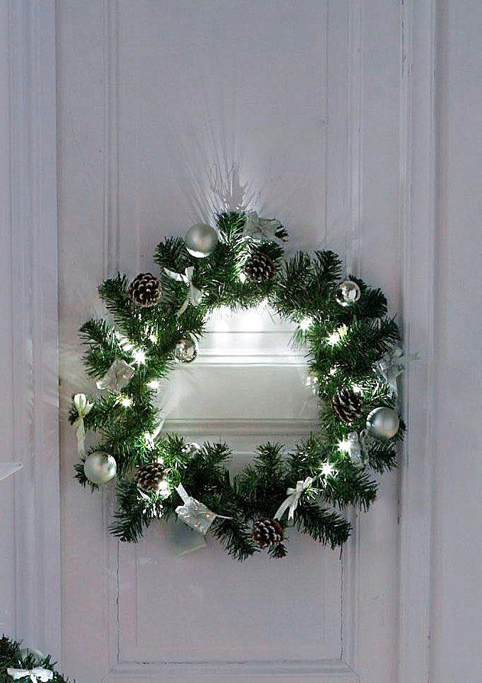 LED-Kranz in weiß-silberfarben mit 20 Dioden - nur 23,99€