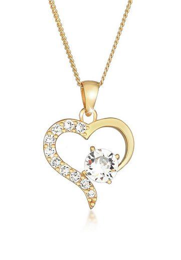 Elli Collierkettchen »Herz Kristalle 925 Sterling Silber«