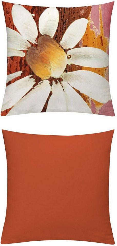 Kissenhüllen, Emotiontextiles, »Magarite« in Orange-Rot