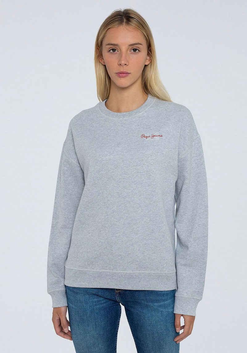 Pepe Jeans Sweater »BONNIE« mit kleinem Marken-Logo-Druck in klassischer Form