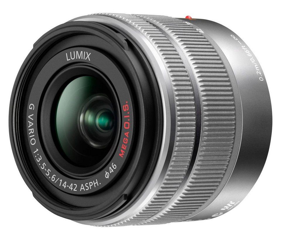 Panasonic H-FS1442A LUMIX G VARIO 14-42mm / F3.5-5.6 II ASPH. Standardzoom Objektiv in silberfarben