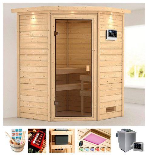 KARIBU Sauna »Meggie«, 173x159x191 cm, 9 kW Bio-Ofen mit ext. Steuerung, Dachkranz