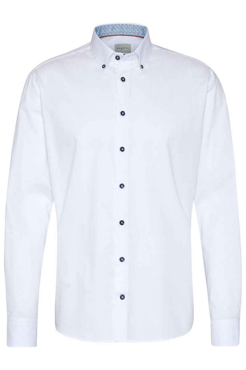 bugatti Langarmhemd im schlichten Design
