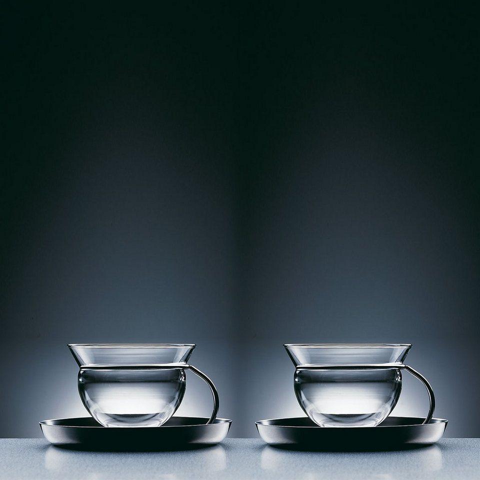 MONO Mono FILIO Teetasse mit Untertasse im Gestell - 2er Set in 13,2 cm