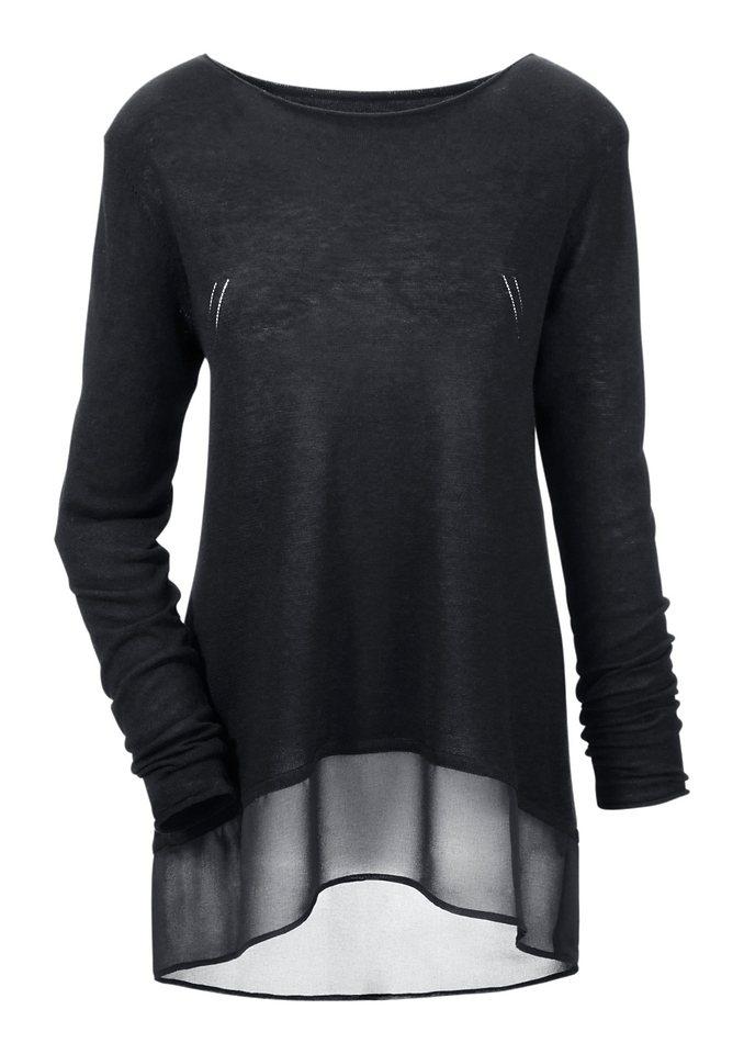 Aniston Rundhalspullover im Vokuhila-Style in schwarz
