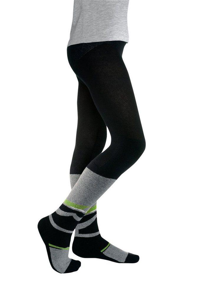 CFL Kinder Skistrumpfhose mit Funktionsplüsch in schwarz-grün