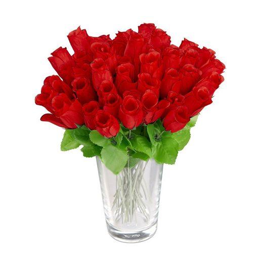 Künstliche Zimmerpflanze »Kunstrosen rot 48 Stück«, relaxdays, Höhe 26 cm