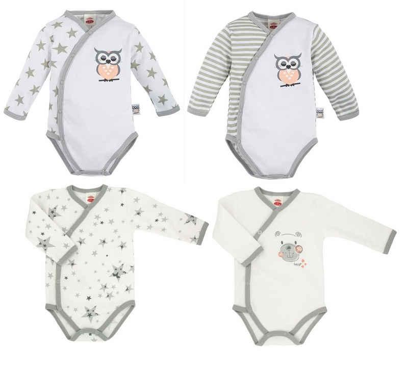 Makoma Langarmbody »Baby Body Wickelbody für Jungen & Mädchen Teddy & Eule« (Set, 4-tlg., 4er-Pack) 100% Baumwolle