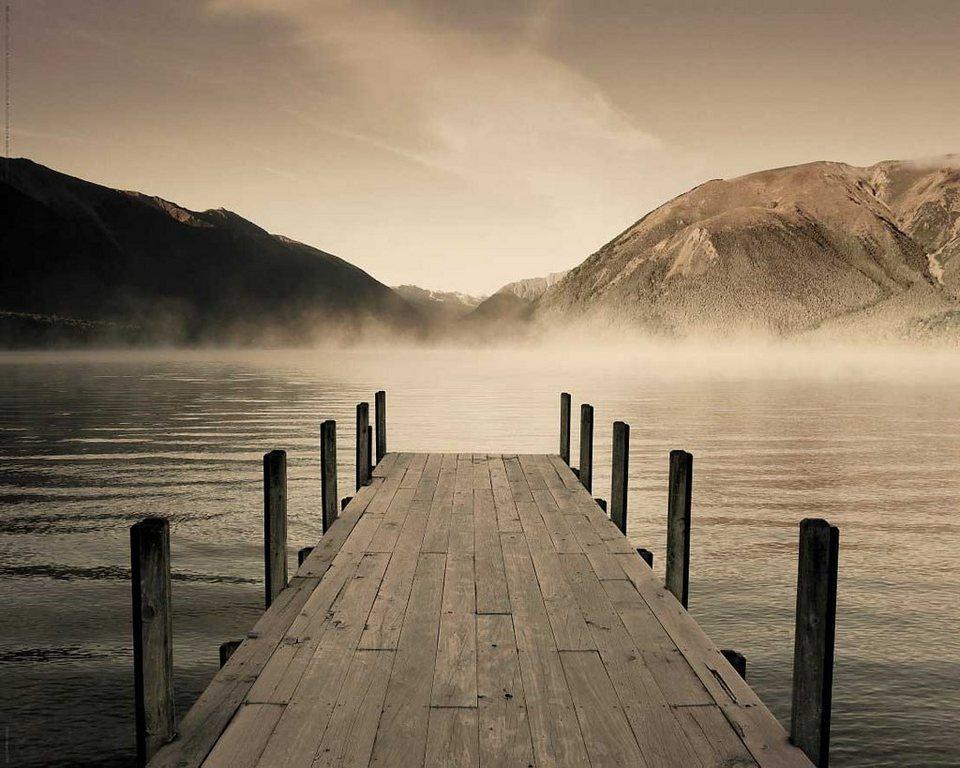 Bild, Home affaire, »Jetty - lake rotoiti«, 50/40 cm in grau