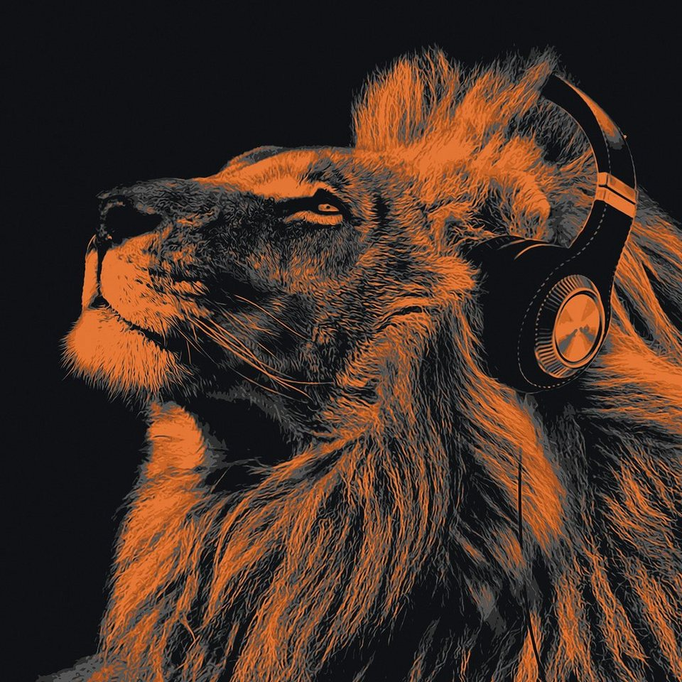 Bild, Home affaire, »Lion headphone«, 90/90 cm in orange