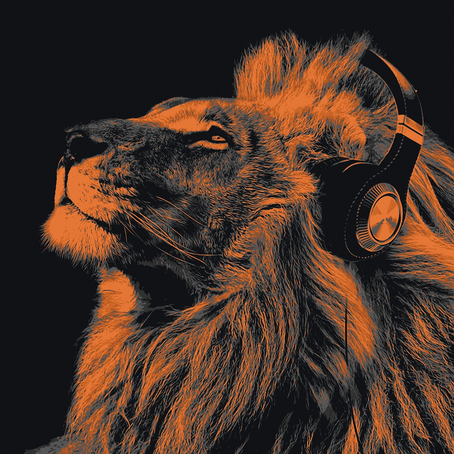 Bild, Home affaire, »Lion headphone«, 90/90 cm