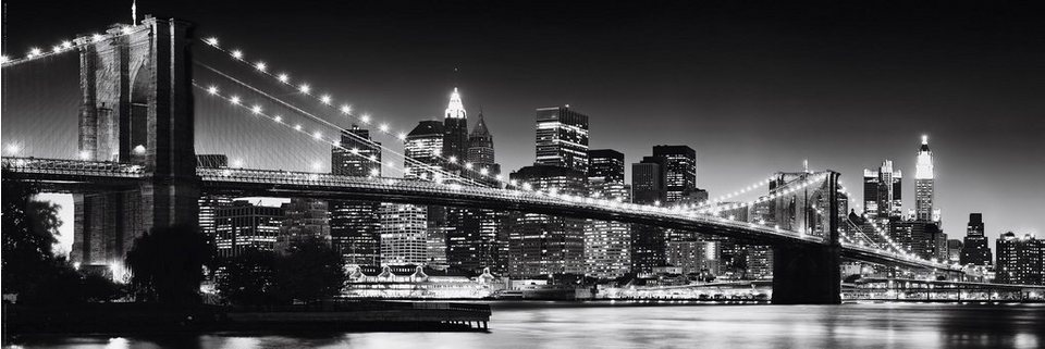 Bild, Home affaire, »New York - Brooklyn Bridge black & «, 90/30 cm in schwarz