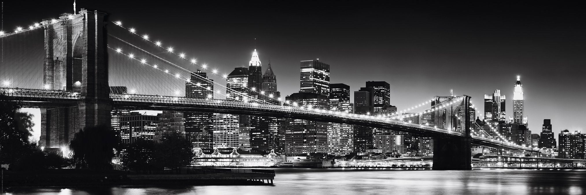 Bild, Home affaire, »New York - Brooklyn Bridge black & «, 90/30 cm