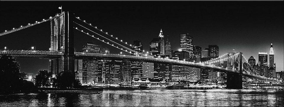 Bild, Home affaire, »New York - Brooklyn Bridge black & «, 150/57 cm in schwarz