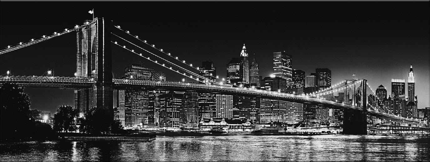 Bild, Home affaire, »New York - Brooklyn Bridge black & «, 150/57 cm