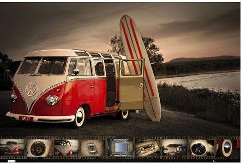 Bild, Home affaire, »VW Camper - kombi surfboard«, 90/60 cm in rot