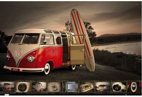 Bild, Home affaire, »VW Camper - kombi surfboard«, 90/60 cm