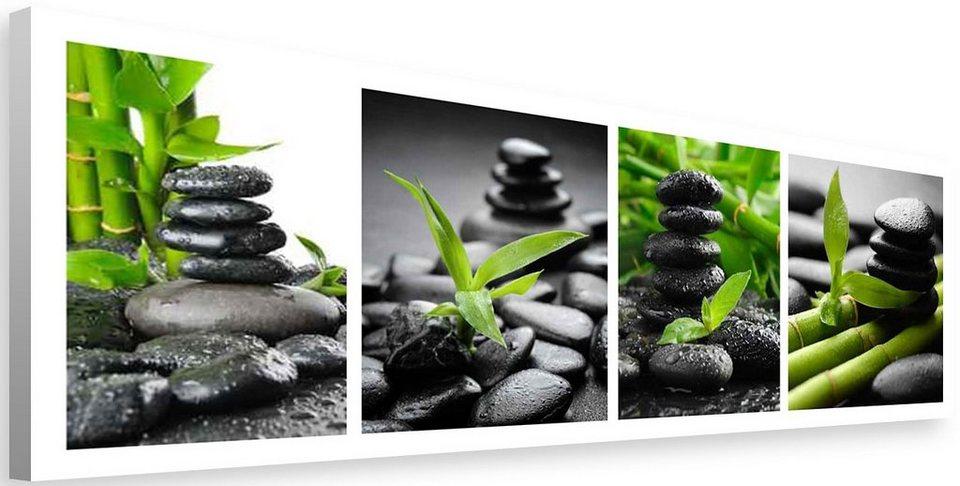 Bild, Home affaire, »Zen stone - meditation«, 118/40 cm in grün