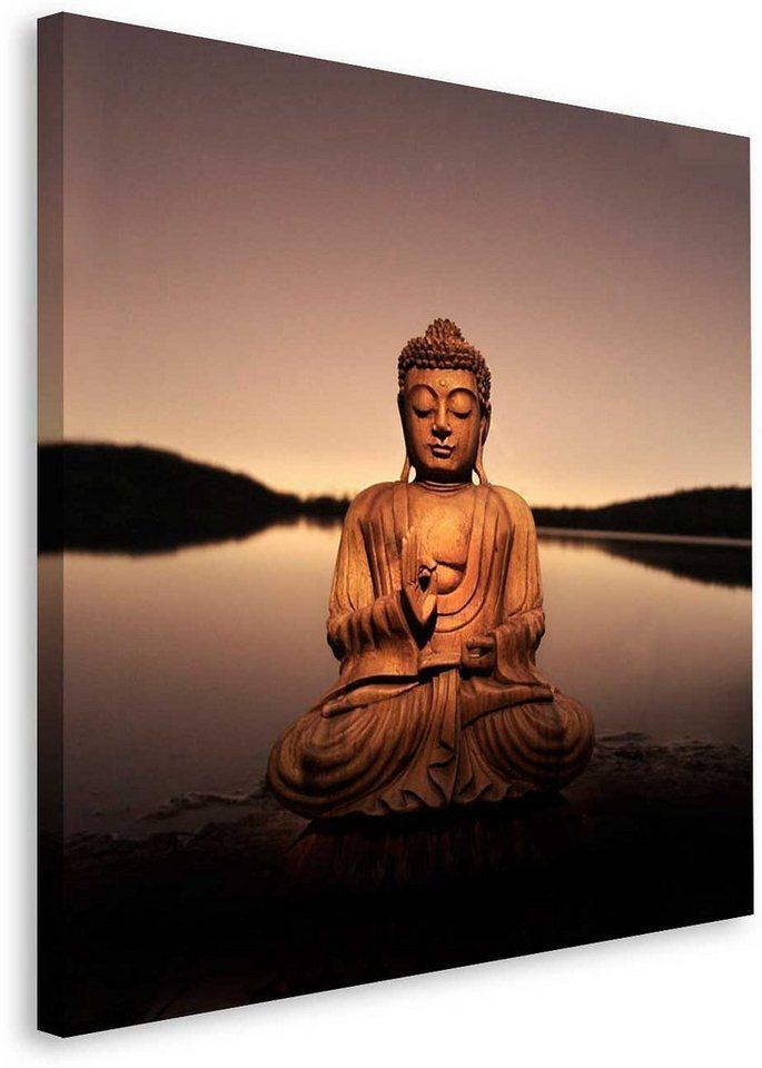 Bild, Home affaire, »Buddha - calm lake«, 40/40 cm in schwarz