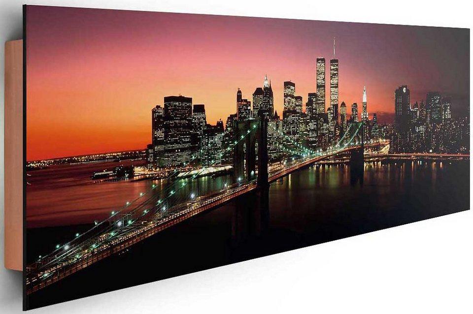 Bild, Home affaire, »New York - Brooklyn Bridge at night«, 156/52 cm in lila