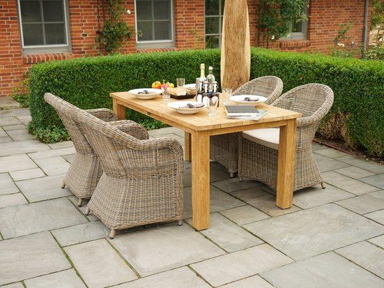 PLOSS Gartenmöbelset »Lambrini«, 5-tlg., 4 Stühle, Tisch 160x90 cm, Polyrattan