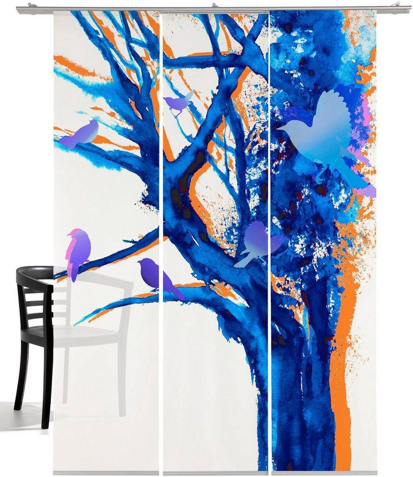 Schiebegardine, Emotiontextiles, »Baum der Vögel« (3 Stück mit Zubehör) in Weiß-blau/lila/orange