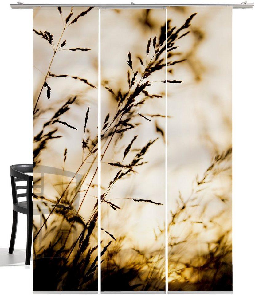 Schiebegardine, Emotiontextiles, »Windrausch Sepia« (3 Stück mit Zubehör) in Sepia-grau/weiß