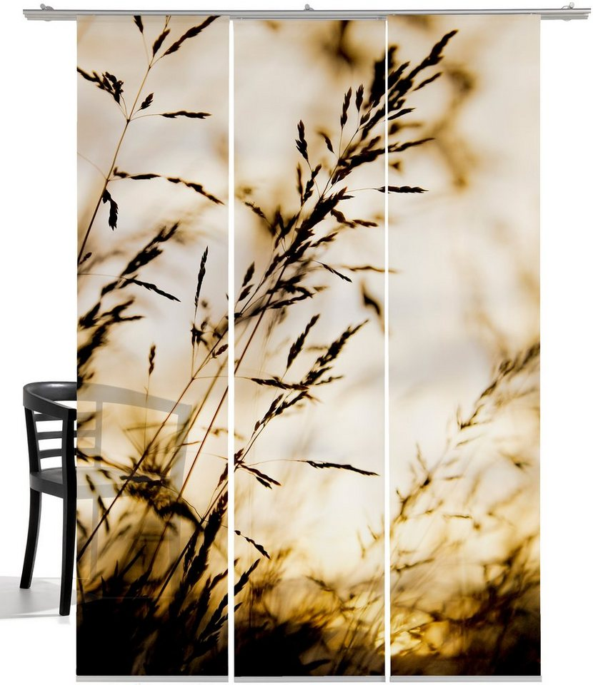 Schiebegardine, Emotiontextiles, »Windrausch Sepia«, mit Klettband (3 Stück mit Zubehör) in Sepia-grau/weiß