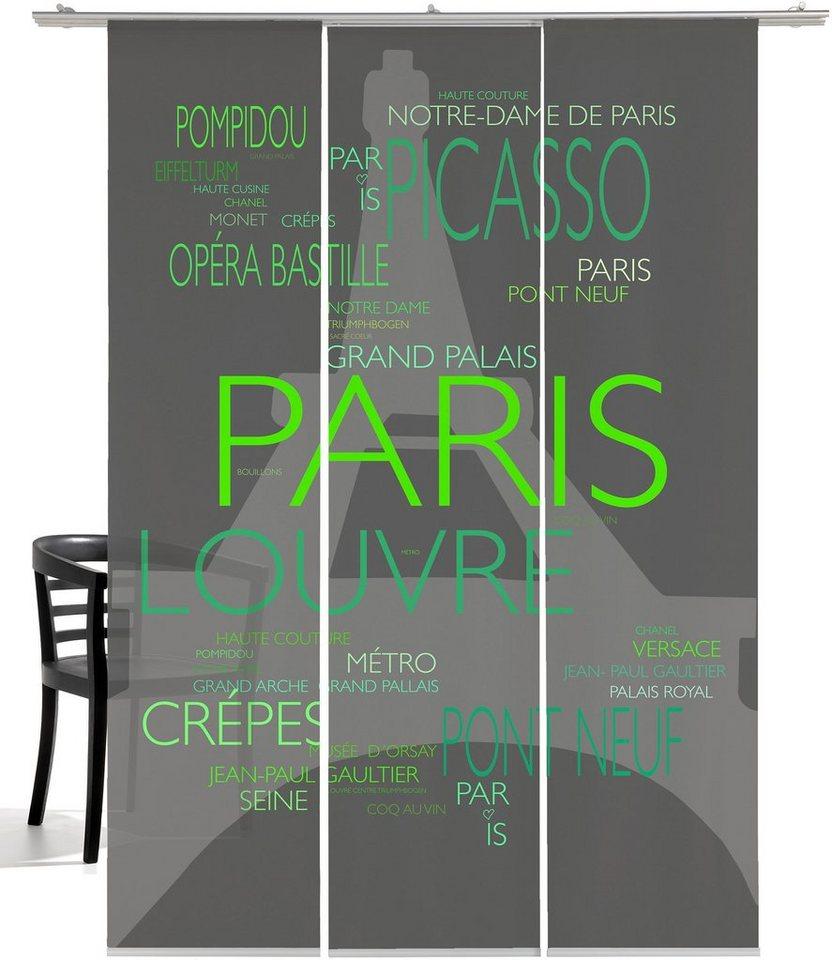 Schiebegardine, Emotiontextiles, »La Tour Eiffel« (3 Stück mit Zubehör) in Grau-grün