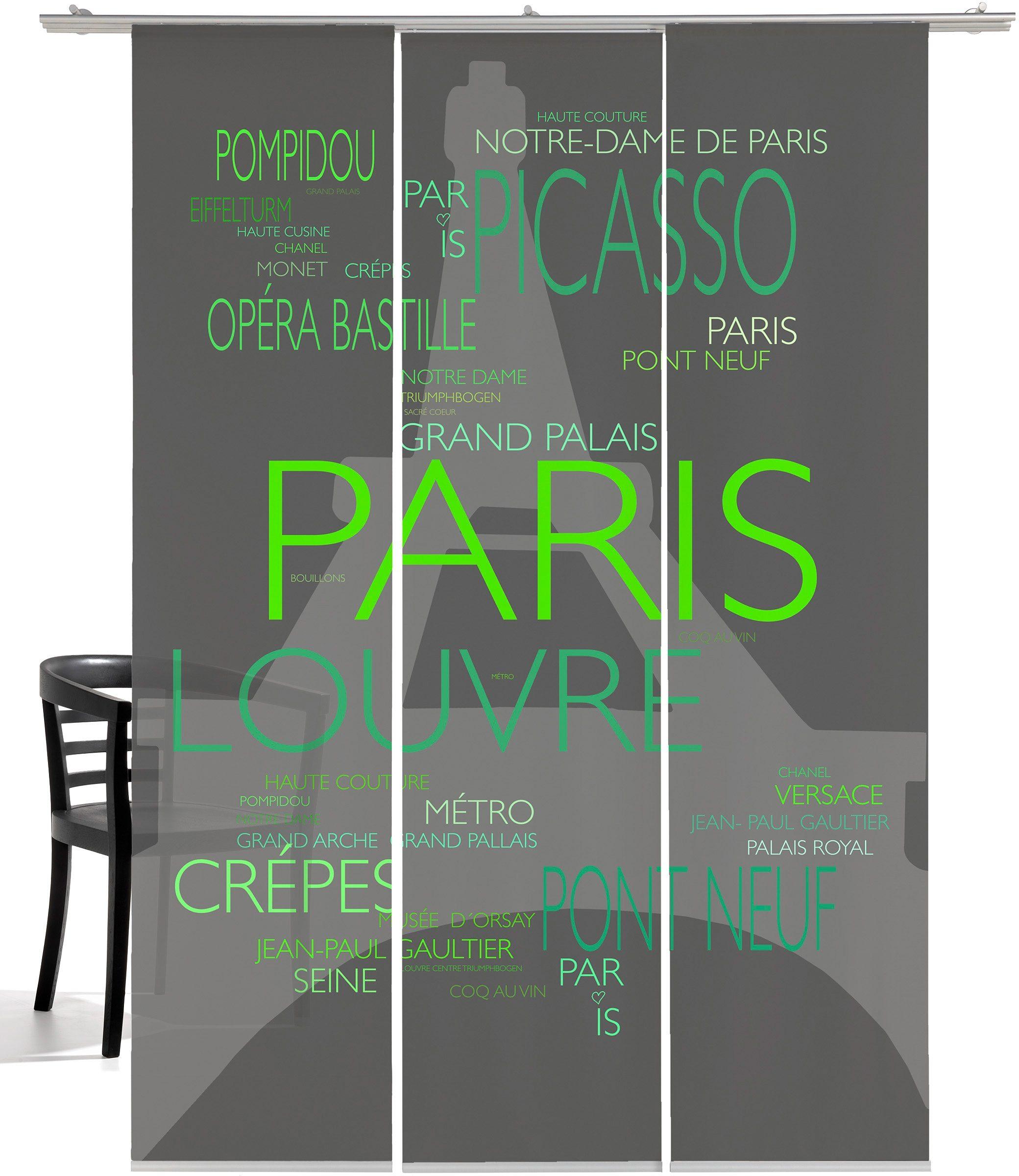 Schiebegardine, Emotiontextiles, »La Tour Eiffel« (3 Stück mit Zubehör)