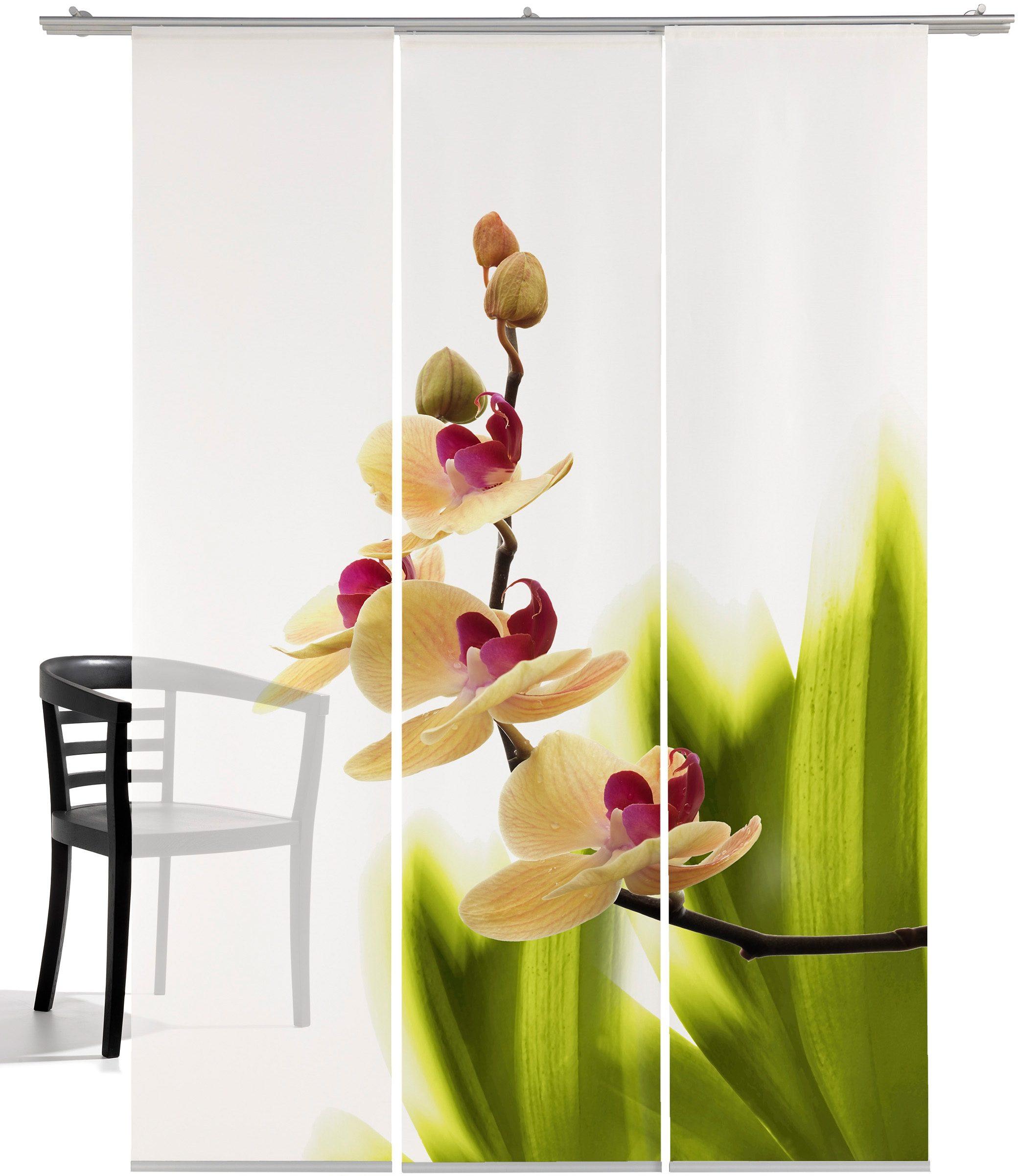 Schiebegardine, Emotiontextiles, »Orchideenwunder«, mit Klettband (3 Stück mit Zubehör)