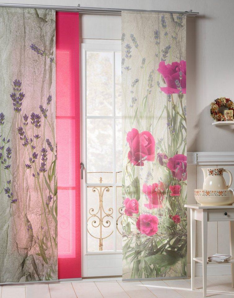 Schiebegardine, Emotiontextiles, »Landhaus Rose« (2 Stück mit Zubehör) in Grün-pink