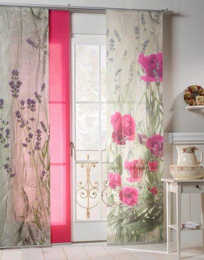 Schiebegardine »Landhaus Rose«, emotion textiles, Klettband (2 Stück), inkl. Beschwerungsstange