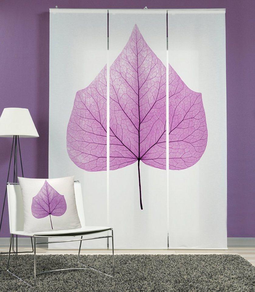 schiebegardine set mit passender kissenh llen emotiontextiles lindenblatt mit klettband. Black Bedroom Furniture Sets. Home Design Ideas